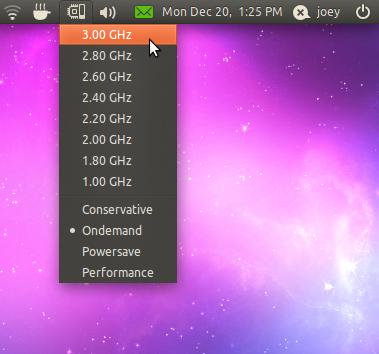 CPUFREQ indicator for Ubuntu