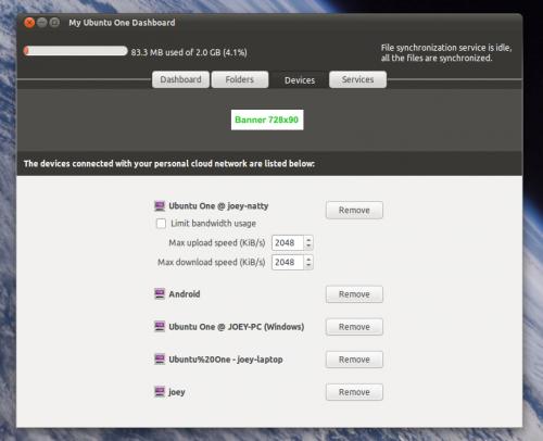 Ubuntu One control panel in Ubuntu 11.04