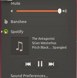 Spotify in the Ubuntu Sound Menu