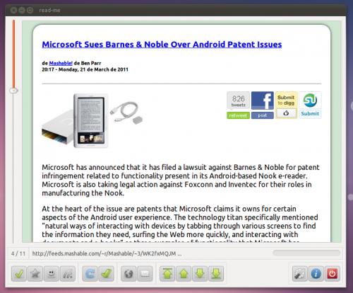 Dedicated Google Reader app for Ubuntu, read-me