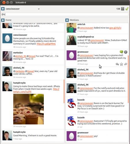 schizobird - a new twitter app for Ubuntu