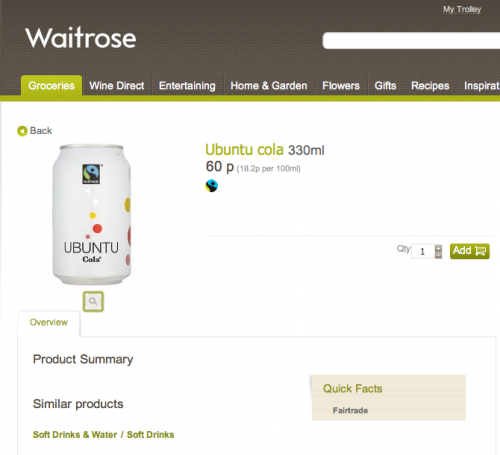 ubuntu cola for sale in waitrose uk
