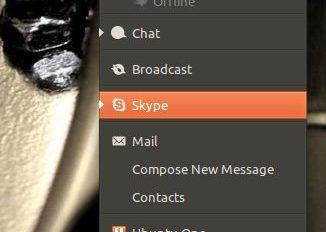 Skype in the Ubuntu messaging Menu