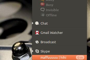 Skype in messaging Menu