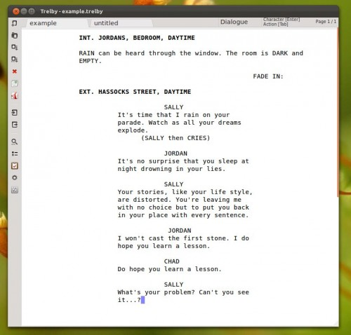 trelby scriptwriter for Linux
