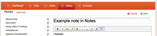 the U1 Notes web interface