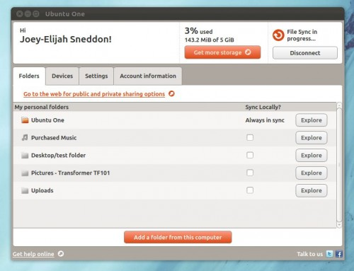Ubuntu One Control Panel Qt