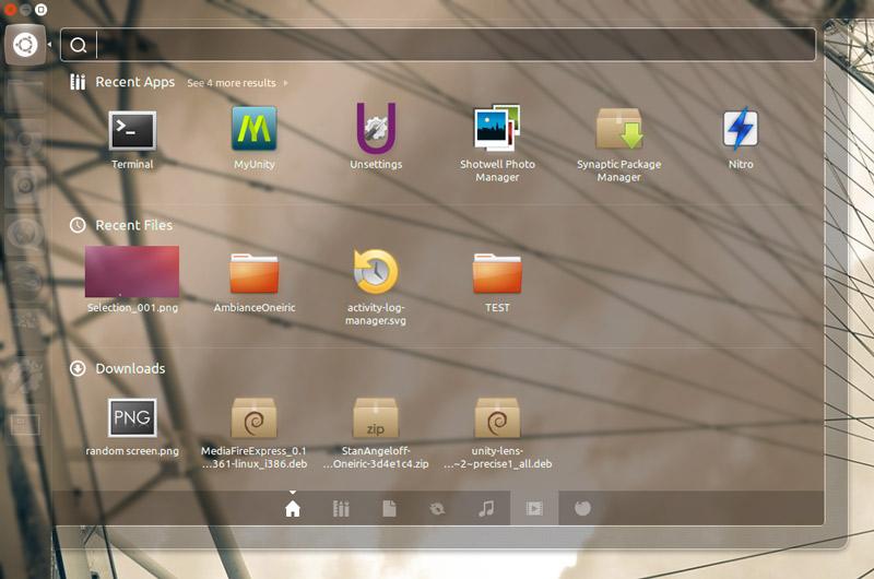 Default Unity Dash in Ubuntu 12.04
