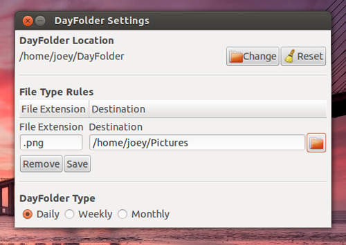 DayFolder Clean Ubuntu Based on Rules