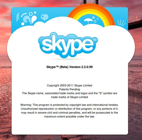Skype Hotfix for Linux - About Screen