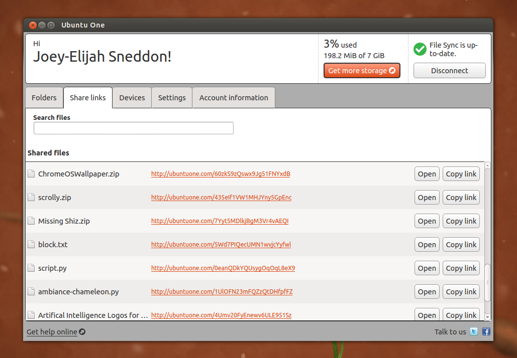 Ubuntu One Share Links in 12.10
