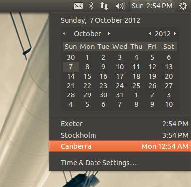 The date-time indicator on Ubuntu