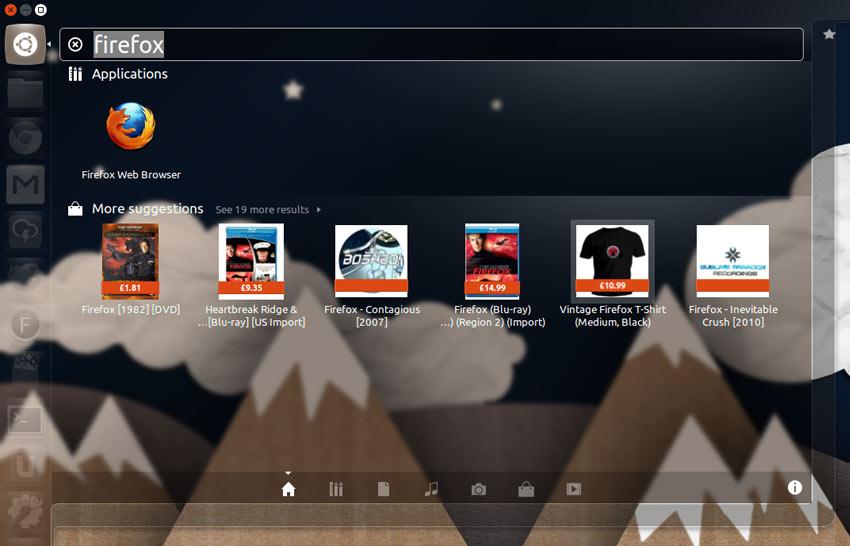 Unity Shopping Lens As it Looks in Ubuntu 12.10