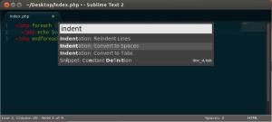 """Searching for """"indent"""" in the command palette"""