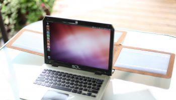 Sol laptop solar panels unfolded