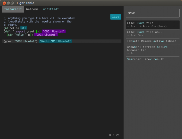 """Light Table's command """"bar"""" and a Clojure REPL"""