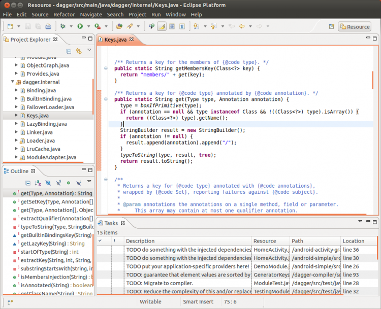 Java project loaded in Ecliipse