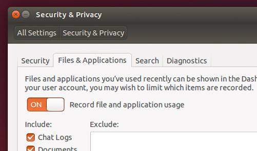 Privacy Settings in Ubuntu 14.04