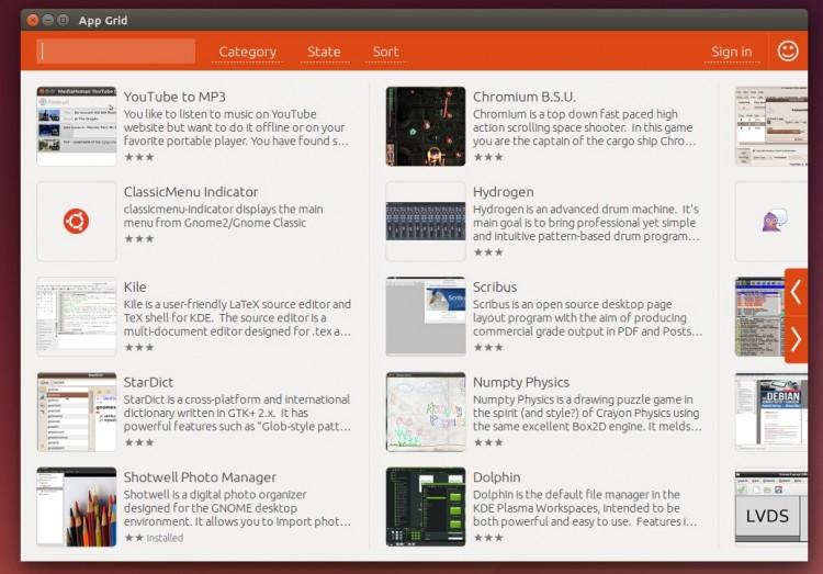 app grid main view