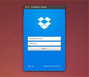 Dropbox login window on linux