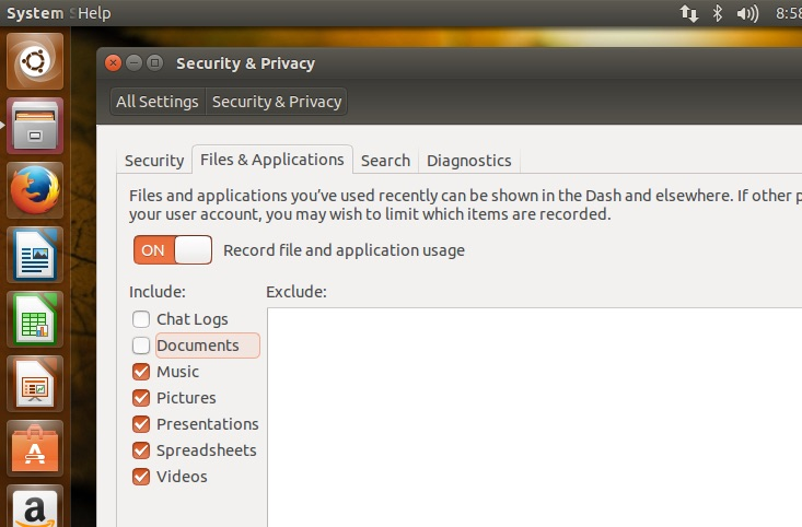 privacy in ubuntu settingd