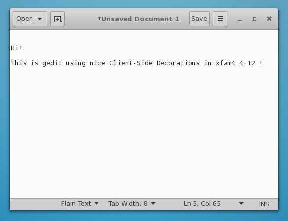 Client Side Decorations in Xfce 4.12
