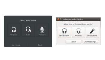 Left: GNOME's proposed uadio jack dialog; Right: Ubuntu's
