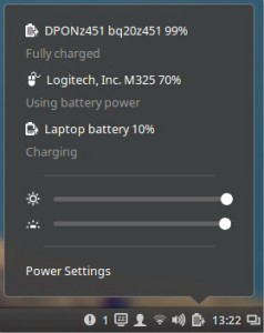 Power applet in Cinnamon 2.8
