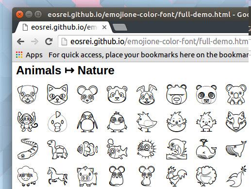 monochrome emoji in chrome browser