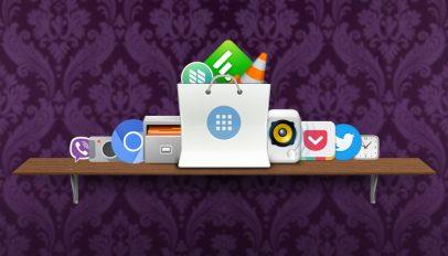 apps on a shelf