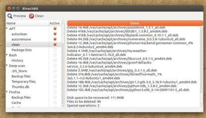 bleachbit running on ubuntu 16.04