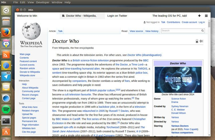 the min web browser on ubuntu