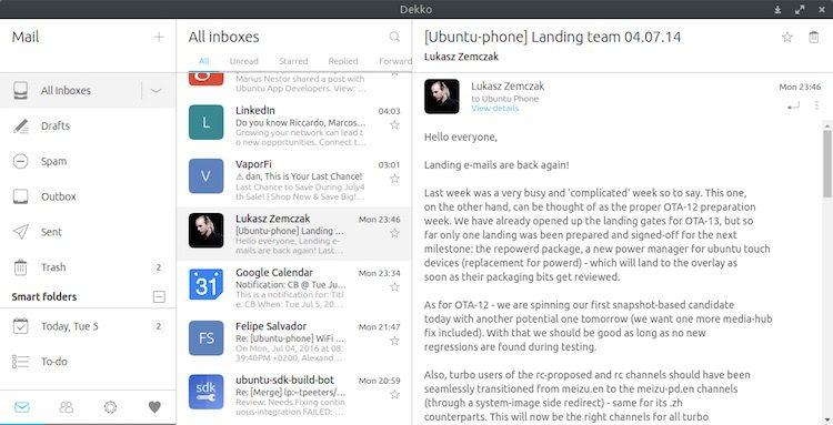 dekko desktop email client view