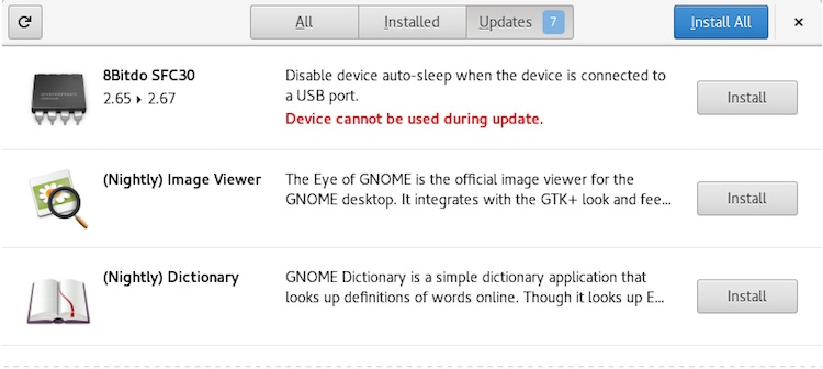 firmware updates in gnome software