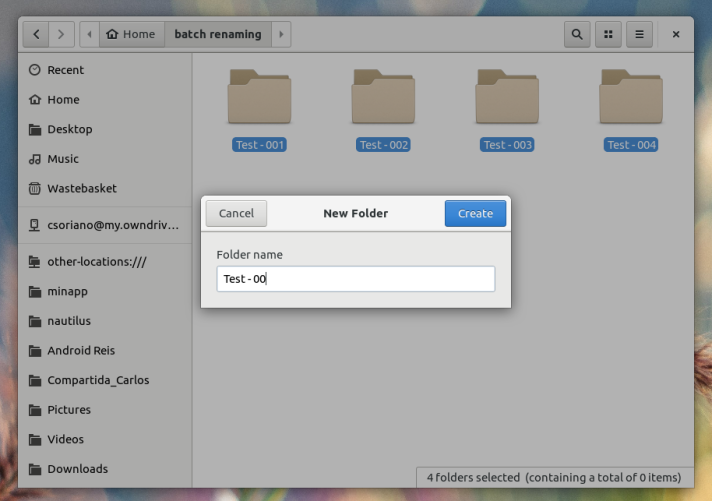 create new folder with selected items nautilus
