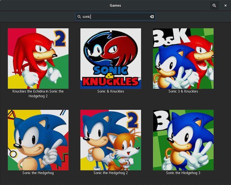 gnome games sonic search
