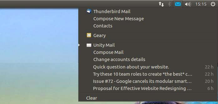messaging menu unity mail