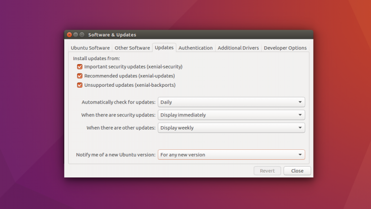 software and updates manager app on ubuntu