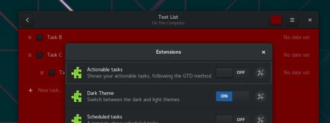 gnome to do: plugins and dark mode