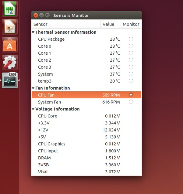 sensors unity running on ubuntu