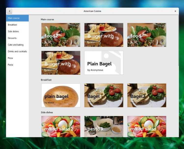 gnome recipes application for linux desktops