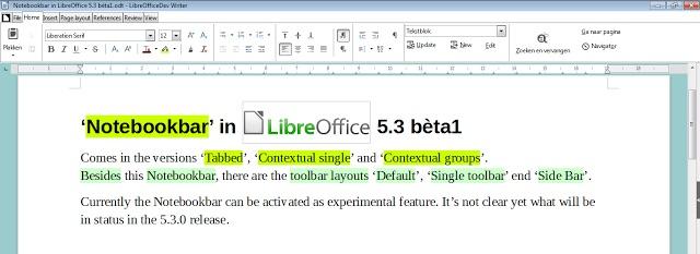 libreoffice 5.3 notebookbar screenshot