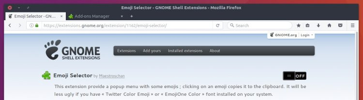 gnome shell extensions webpage