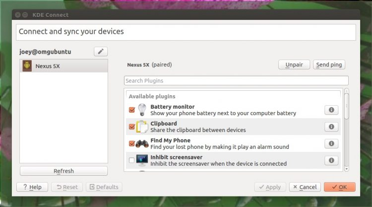 The KDE Connect Qt app running on Ubuntu