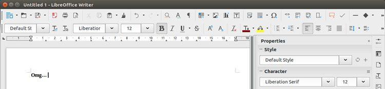 Default LibreOffice Toolbar Layout