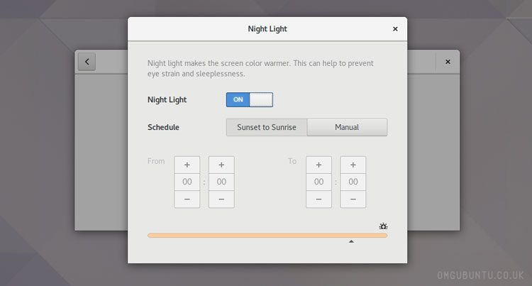 gnome night light feature in GNOME 3.24