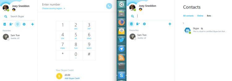 skype for web beta (l) skype for linux alpha (r)