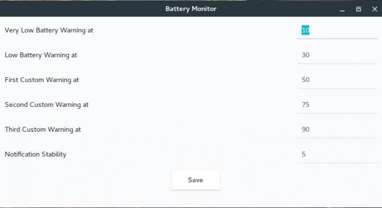 battery monitor settings