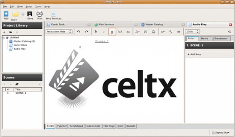 celtx desktop app on Ubuntu