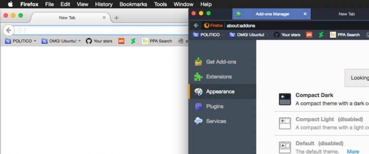 comparison of firefox default theme and compact themes on mac os
